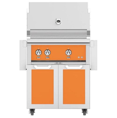 Hestan 30-Inch Propane Gas Grill W/ Rotisserie On Double Door Tower Cart - Citra - GABR30-LP-OR