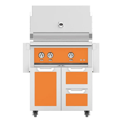 Hestan 30-Inch Natural Gas Grill W/ Rotisserie On Double Drawer & Door Tower Cart - Citra - GABR30-NG-OR