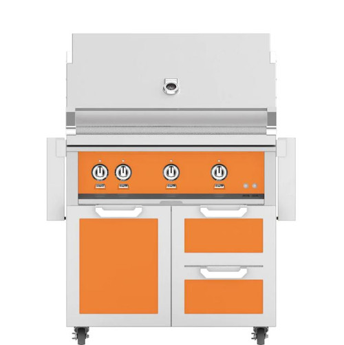 Hestan 36-Inch Natural Gas Grill W/ Rotisserie On Double Drawer & Door Tower Cart - Citra - GABR36-NG-OR