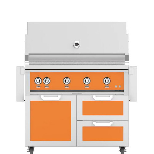 Hestan 42-Inch Natural Gas Grill W/ Rotisserie On Double Drawer & Door Tower Cart - Citra - GABR42-NG-OR