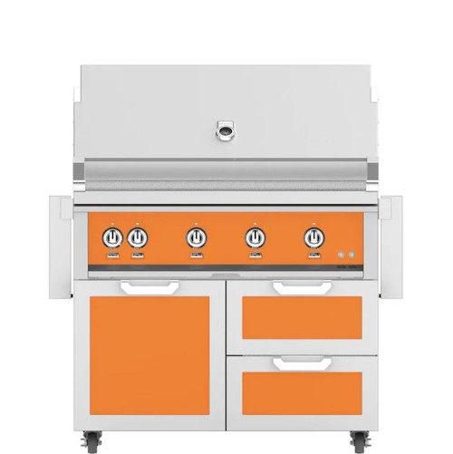Hestan 42-Inch Propane Gas Grill W/ Rotisserie On Double Drawer & Door Tower Cart - Citra - GABR42-LP-OR