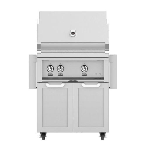 Hestan 30-Inch Natural Gas Grill W/ Rotisserie On Double Door Tower Cart - Steeletto - GABR30-NG-SS