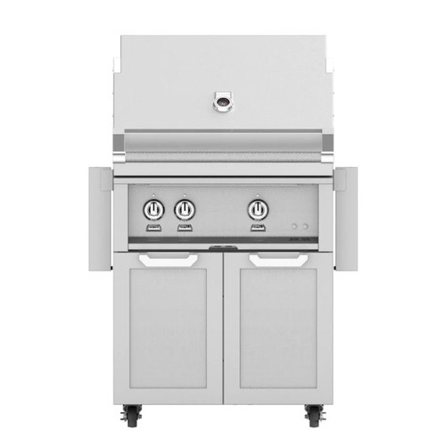 Hestan 30-Inch Propane Gas Grill W/ Rotisserie On Double Door Tower Cart - Steeletto - GABR30-LP-SS