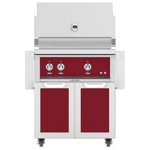 Hestan 30-Inch Natural Gas Grill W/ Rotisserie On Double Door Tower Cart - Tin Roof - GABR30-NG-BG