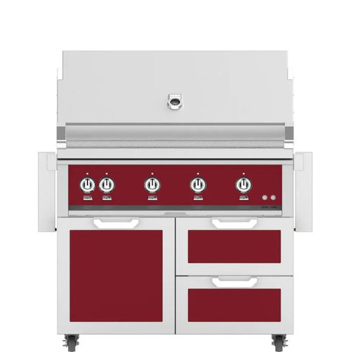 Hestan 42-Inch Natural Gas Grill W/ Rotisserie On Double Drawer & Door Tower Cart - Tin Roof - GABR42-NG-BG