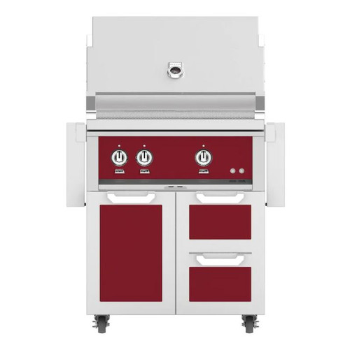Hestan 30-Inch Propane Gas Grill W/ Rotisserie On Double Drawer & Door Tower Cart - Tin Roof - GABR30-LP-BG