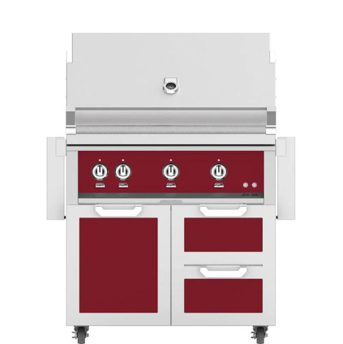 Hestan 36-Inch Propane Gas Grill W/ Rotisserie On Double Drawer & Door Tower Cart - Tin Roof - GABR36-LP-BG