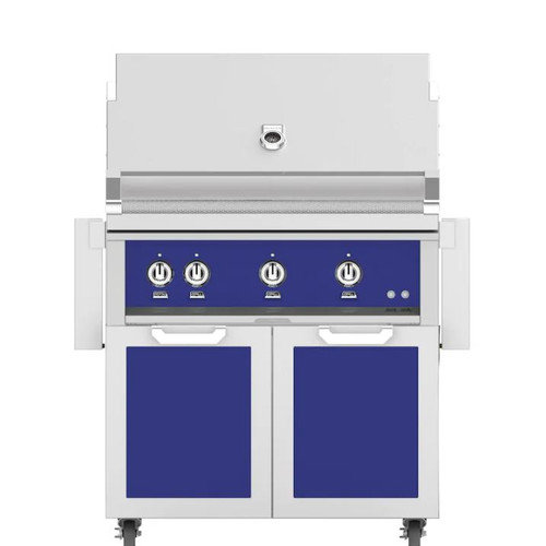 Hestan 36-Inch Natural Gas Grill W/ Rotisserie On Double Door Tower Cart - Prince - GABR36-NG-BU