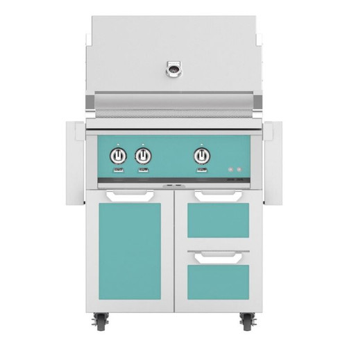 Hestan 30-Inch Natural Gas Grill W/ Rotisserie On Double Drawer & Door Tower Cart - Bora Bora - GABR30-NG-TQ