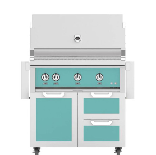 Hestan 36-Inch Natural Gas Grill W/ Rotisserie On Double Drawer & Door Tower Cart - Bora Bora - GABR36-NG-TQ