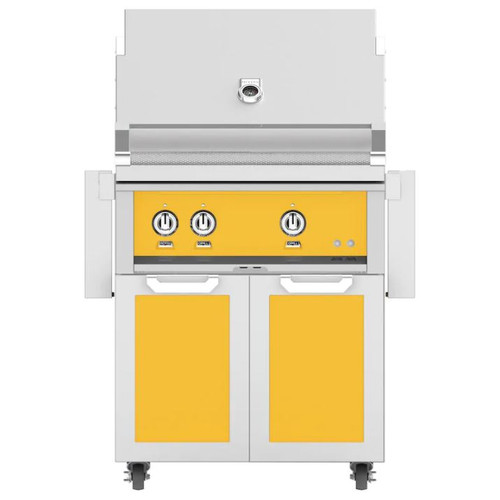 Hestan 30-Inch Natural Gas Grill W/ Rotisserie On Double Door Tower Cart - Sol - GABR30-NG-YW