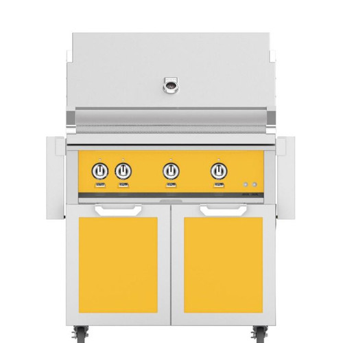 Hestan 36-Inch Natural Gas Grill W/ Rotisserie On Double Door Tower Cart - Sol - GABR36-NG-YW