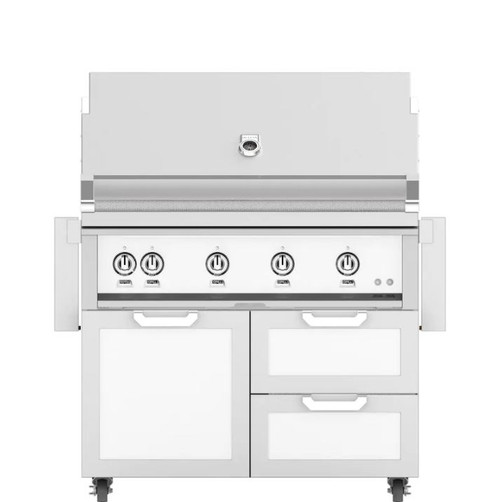 Hestan 42-Inch Propane Gas Grill W/ Rotisserie On Double Drawer & Door Tower Cart - Froth - GABR42-LP-WH