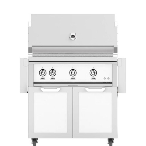 Hestan 36-Inch Natural Gas Grill W/ Rotisserie On Double Door Tower Cart - Froth - GABR36-NG-WH