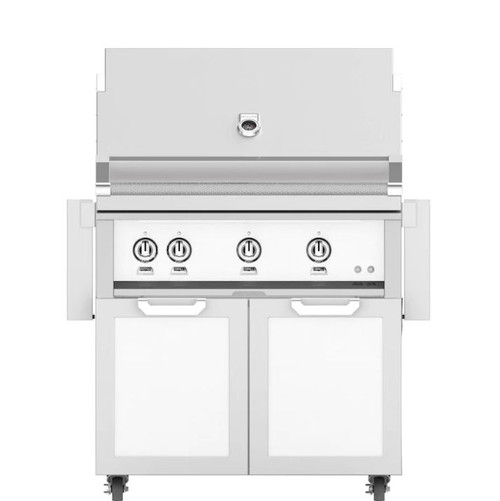 Hestan 36-Inch Propane Gas Grill W/ Rotisserie On Double Door Tower Cart - Froth - GABR36-LP-WH