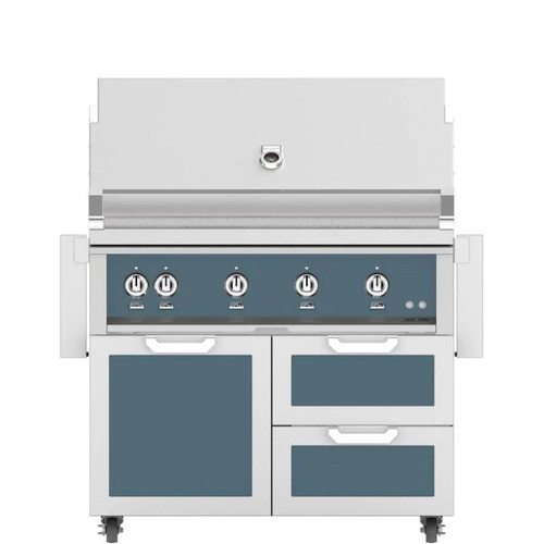 Hestan 42-Inch Natural Gas Grill W/ Rotisserie On Double Drawer & Door Tower Cart - Pacific Fog - GABR42-NG-GG