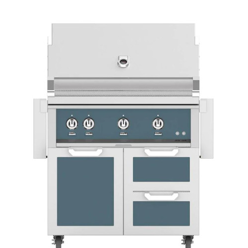 Hestan 36-Inch Propane Gas Grill W/ Rotisserie On Double Drawer & Door Tower Cart - Pacific Fog - GABR36-LP-GG