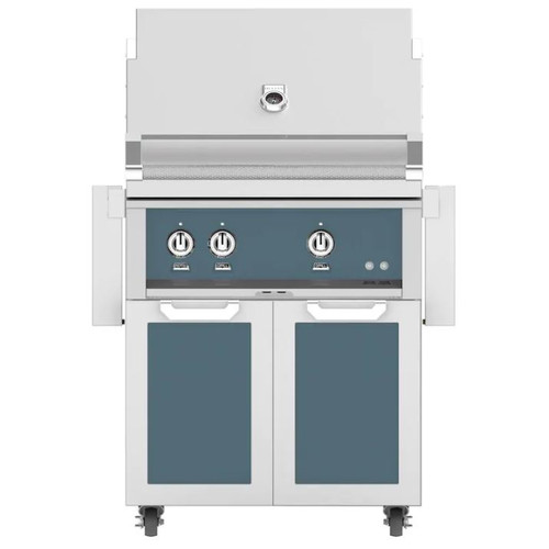 Hestan 30-Inch Natural Gas Grill W/ Rotisserie On Double Door Tower Cart - Pacific Fog - GABR30-NG-GG