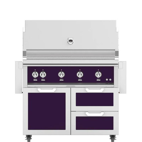 Hestan 42-Inch Propane Gas Grill W/ Rotisserie On Double Drawer & Door Tower Cart - Lush - GABR42-LP-PP