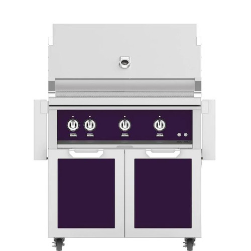 Hestan 36-Inch Natural Gas Grill W/ Rotisserie On Double Door Tower Cart - Lush - GABR36-NG-PP