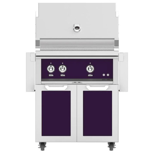 Hestan 30-Inch Propane Gas Grill W/ Rotisserie On Double Door Tower Cart - Lush - GABR30-LP-PP