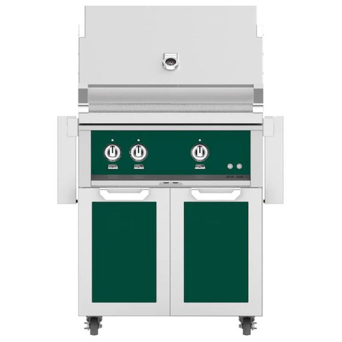 Hestan 30-Inch Propane Gas Grill W/ All Infrared Burners & Rotisserie On Double Door Tower Cart - Grove - GSBR30-LP-GR