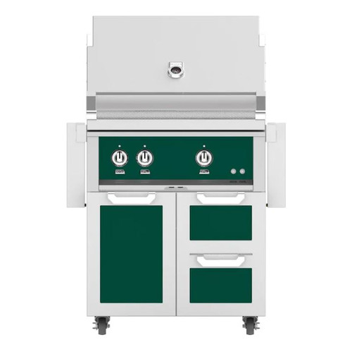 Hestan 30-Inch Natural Gas Grill W/ All Infrared Burners & Rotisserie On Double Drawer & Door Tower Cart - Grove - GSBR30-NG-GR
