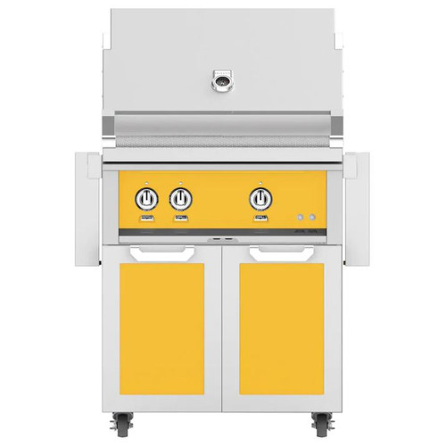 Hestan 30-Inch Propane Gas Grill W/ All Infrared Burners & Rotisserie On Double Door Tower Cart - Sol - GSBR30-LP-YW
