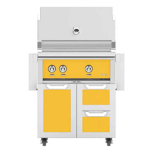 Hestan 30-Inch Natural Gas Grill W/ All Infrared Burners & Rotisserie On Double Drawer & Door Tower Cart - Sol - GSBR30-NG-YW