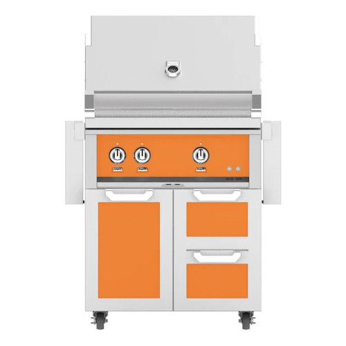 Hestan 30-Inch Propane Gas Grill W/ All Infrared Burners & Rotisserie On Double Drawer & Door Tower Cart - Citra - GSBR30-LP-OR