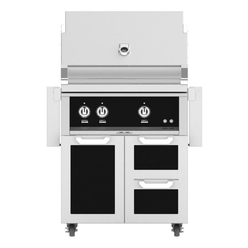 Hestan 30-Inch Natural Gas Grill W/ All Infrared Burners & Rotisserie On Double Drawer & Door Tower Cart - Stealth - GSBR30-NG-BK