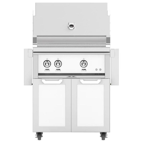 Hestan 30-Inch Natural Gas Grill W/ All Infrared Burners & Rotisserie On Double Door Tower Cart - Froth - GSBR30-NG-WH