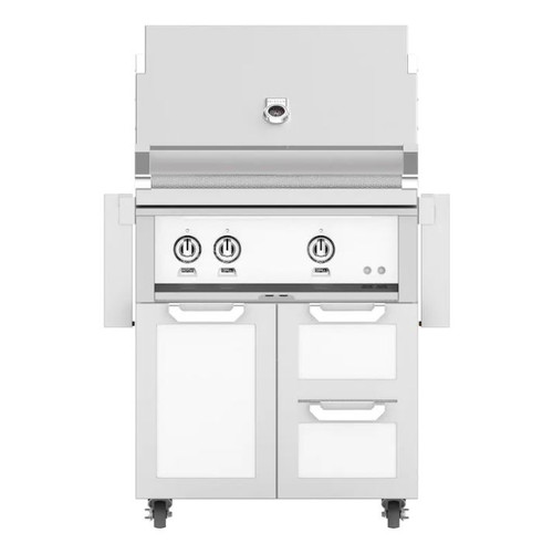 Hestan 30-Inch Propane Gas Grill W/ All Infrared Burners & Rotisserie On Double Drawer & Door Tower Cart - Froth - GSBR30-LP-WH