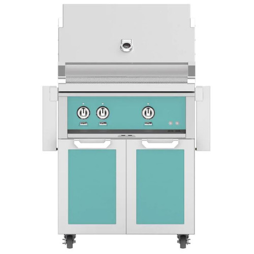 Hestan 30-Inch Natural Gas Grill W/ All Infrared Burners & Rotisserie On Double Drawer & Door Tower Cart - Bora Bora - GSBR30-NG-TQ