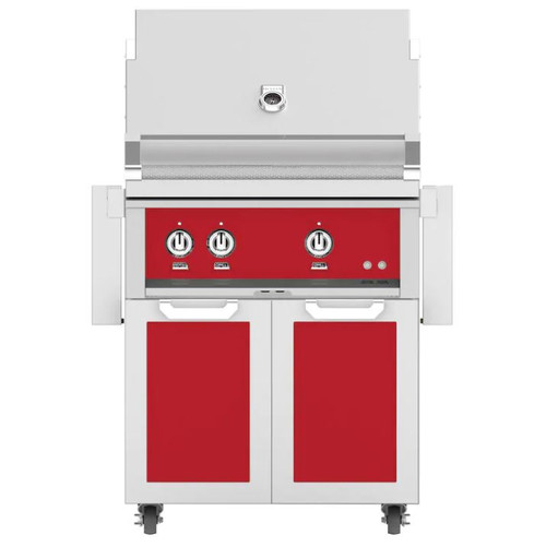 Hestan 30-Inch Natural Gas Grill W/ Rotisserie On Double Door Tower Cart - Matador - GABR30-NG-RD