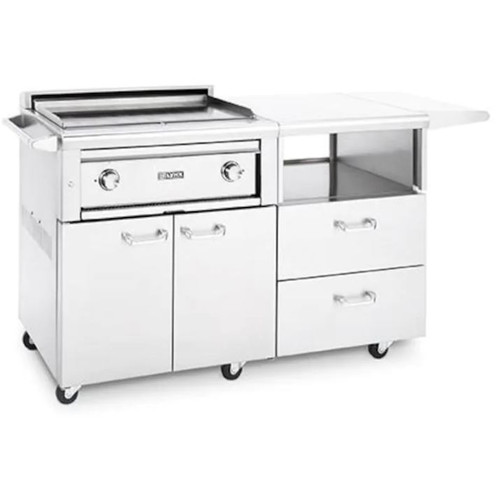 Lynx Asado 30-Inch Natural Gas Flat Top Grill On Mobile Kitchen Cart - L30AG-M-NG