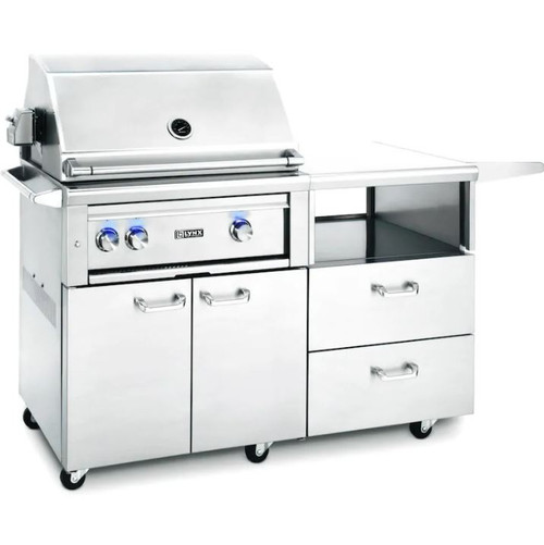 Lynx Professional 30-Inch All Infrared Trident Natural Gas Grill With Rotisserie On Mobile Kitchen Cart - L30ATR-M-NG