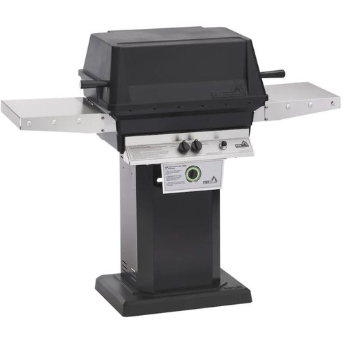 PGS T-Series T40 Commercial Cast Aluminum Propane Gas Grill With Timer On Black Patio Base