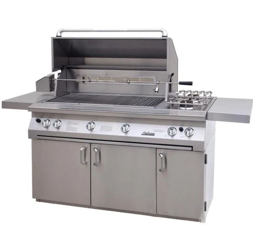 Solaire 56 Inch InfraVection Natural Gas Grill On Standard Cart With Rotisserie & Double Side Burner - SOL-AGBQ-56CVV-NG