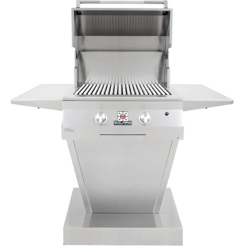 Solaire 27 Inch Deluxe All Infrared Natural Gas Grill On Angular Pedestal Base - SOL-IRBQ-27GIRXL-PED-NG