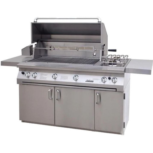 Solaire 56 Inch All Infrared Natural Gas Grill On Standard Cart With Rotisserie & Double Side Burner - SOL-AGBQ-56CIR-NG