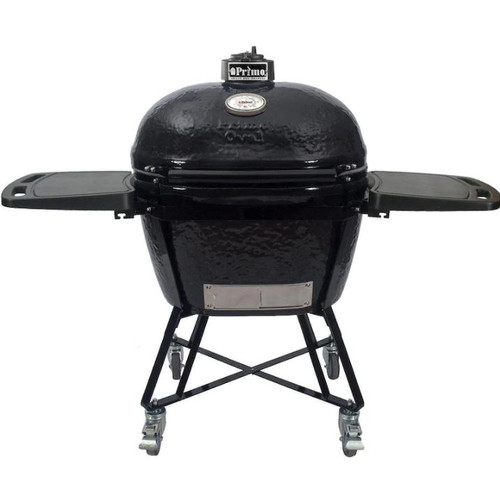 Primo All-In-One Oval XL 400 Ceramic Kamado Grill With Cradle, Side Shelves, And Stainless Steel Grates - 7800