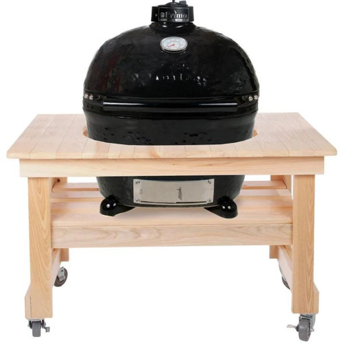 Primo Oval XL 400 Ceramic Kamado Grill On Compact Cypress Table With Stainless Steel Grates - 778
