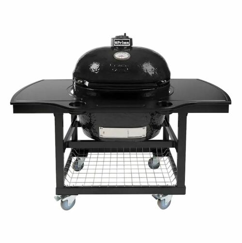 Primo Oval XL 400 Ceramic Kamado Grill On Steel Cart With 1-Piece Island Side Shelves, Cup Holders, And Stainless Steel Grates - 778