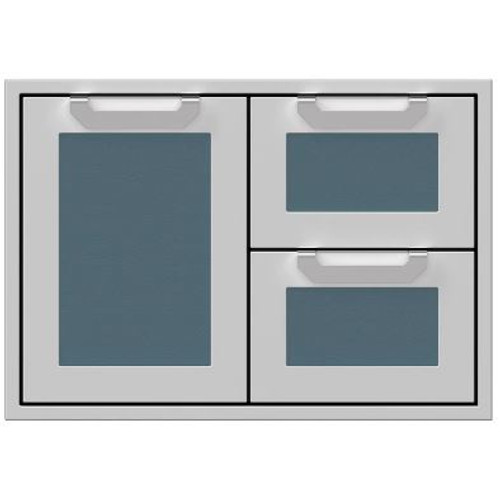 Hestan 30-Inch Double Drawer And Single Storage Door Combo - Pacific Fog - AGSDR30-GG