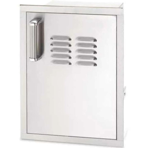 Fire Magic Premium Flush 14-Inch Right-Hinged Soft Close Louvered Single Access Door With Propane Tank Storage - 53820SC-T