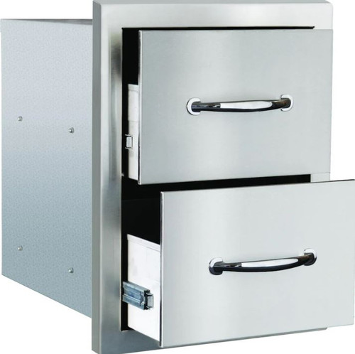 Summerset 15-Inch Stainless Steel Masonry Double Access Drawer - SSDR2-17M