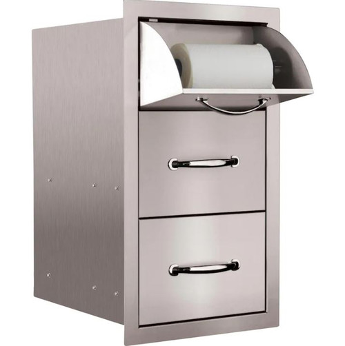 Summerset 15-Inch Stainless Steel Flush Mount Double Access Drawer With Paper Towel Holder - SSTDC-17