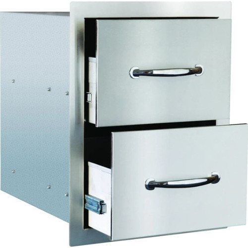 Summerset 15-Inch Stainless Steel Flush Mount Double Access Drawer - SSDR2-17