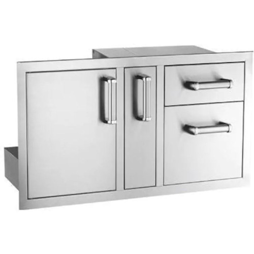 Fire Magic Premium Flush 36-Inch Access Door With Platter Storage And Double Drawer With Soft Close - 53816SC